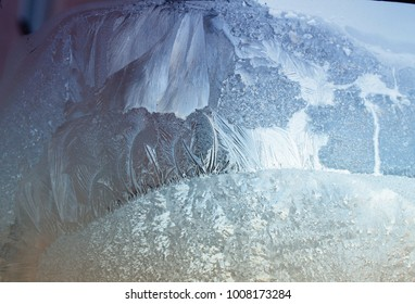 Frozen window / Abstract winter background