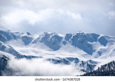 frozen winter moutain peak landscape