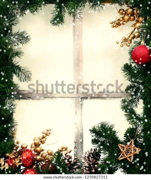 Frozen Christmas Decorations.Frozen Winter Window Dressed Christmas Decorations Stock