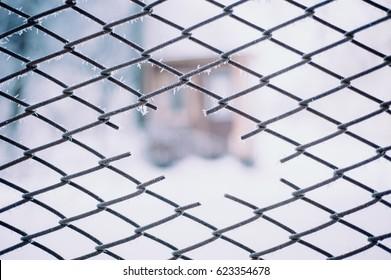 frozen wire mesh background
