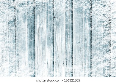 Frozen wooden in snow surface