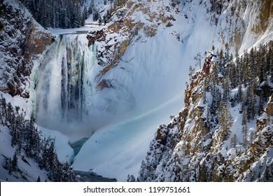 Frozen Yellowstone Canyon Waterfall, frozen in winter
