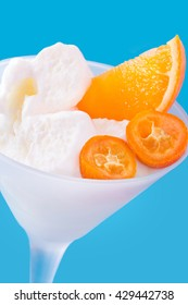 Frozen yogurt and fruits