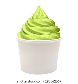 Frozen yogurt with green tea in paper cup on white background