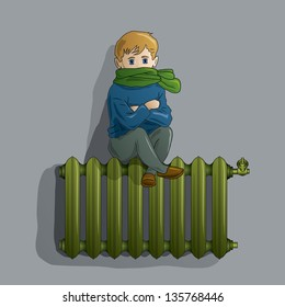 Frozen young boy on an warm old radiator