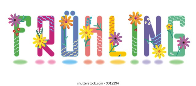 Fruhling - spring (German language) alphabet mini set of beautiful initial letters ( for vector EPS see image 3022723 )  - Shutterstock ID 3012234
