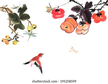 the fruit and animal--persimmon and sparrow