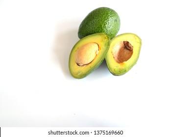 Fruit, avocado, isolated on white background.
