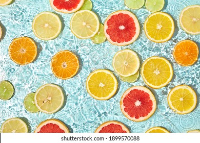 Fruit background with blue abstract wave. Creative summer food background. Abstract freshness summer drink