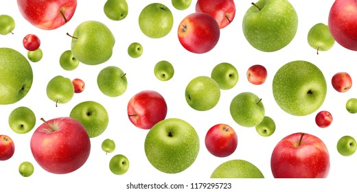 Fruit background with green and red apples, isolated on white. The fruit in the air flying or falling.