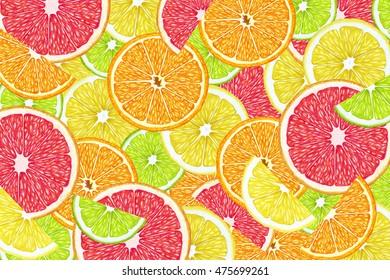 Fruit background with slices of orange, grapefruit, lemon and lime. Hand-drawn illustration, digitally colored.