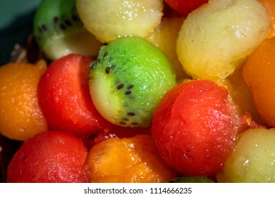 fruit balls of different colors in close-up