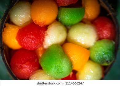 fruit balls of different colors, view of height