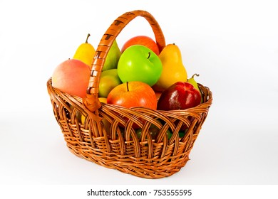 a fruit basket, apples, pear, isolated on white background
