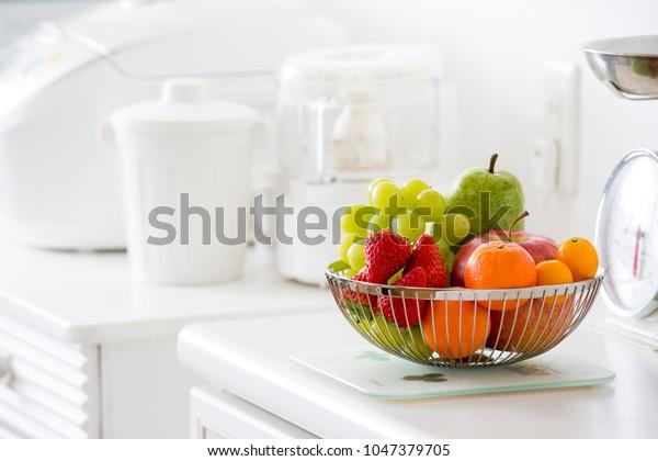 Fruit Basket Bright Kitchen Stock Photo (Edit Now) 1047379705