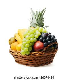 Fruit basket with mixed fruit on white background