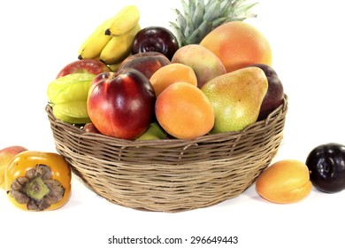 Fruit basket with various colorful fruits on a light background