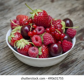 Fruit and berries. Strawberry, raspberry, red currant, cherry, sweet cherry.
