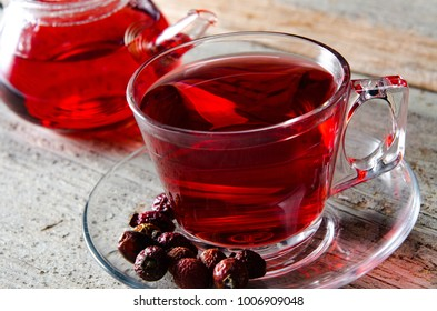 Fruit berry tea in the cup served on table