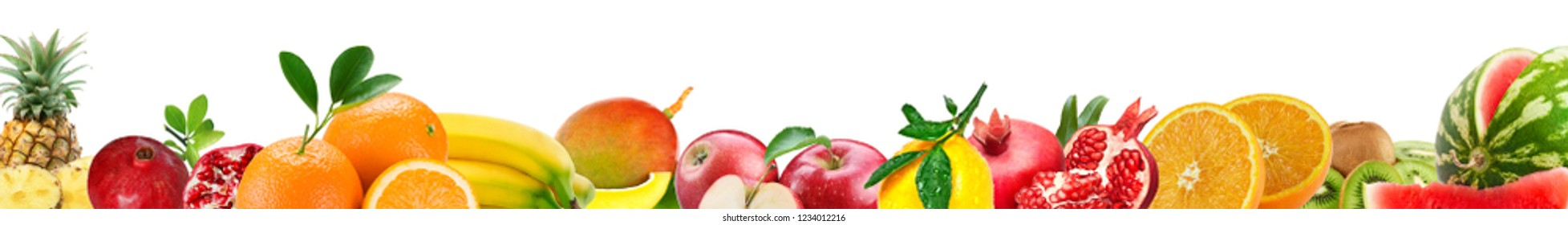 Fruit at the bottom on a white background.