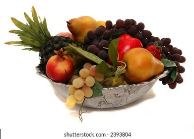 Fruit bowl on white background