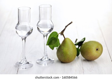 Fruit Brandy, Pear Brandy with glasses