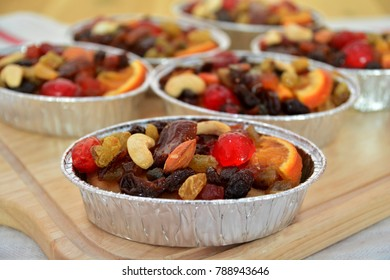 Fruit cake with dried fruit and almonds.