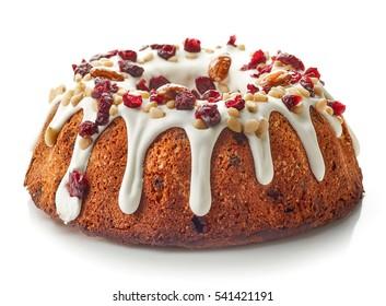 Fruit cake isolated on white background