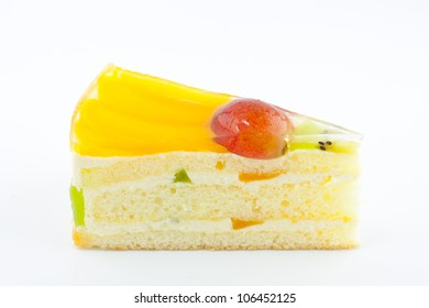 fruit cake with milk cream and fruit