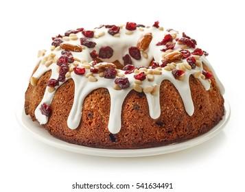 fruit cake on white plate isolated on white background