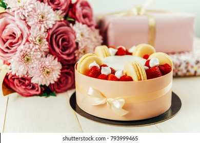 Fruit Cake, Pink Roses Bouquet and Anniversary Presents