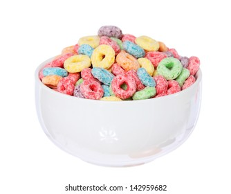 fruit cereal loops colorful in bowl isolated on white background