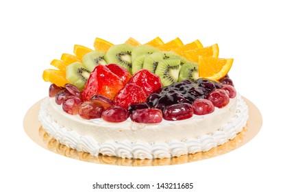 fruit cheese cake isolated on white