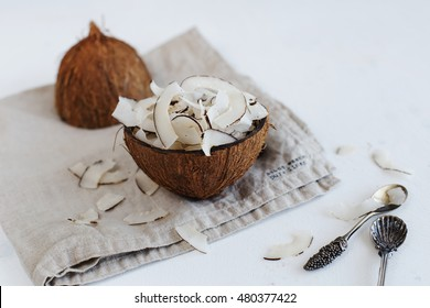 Fruit chips coconut on white background