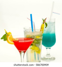 fruit cocktail in a cup with a straw on a white background1