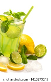 Fruit cocktail. Lime and lemon drink with mint on white background
