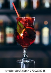 Fruit cocktail with mint and ice