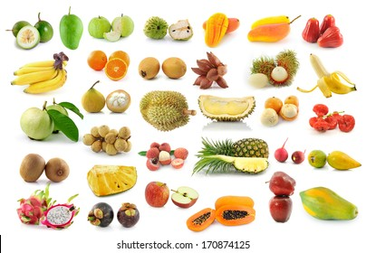 fruit collection isolated on white background