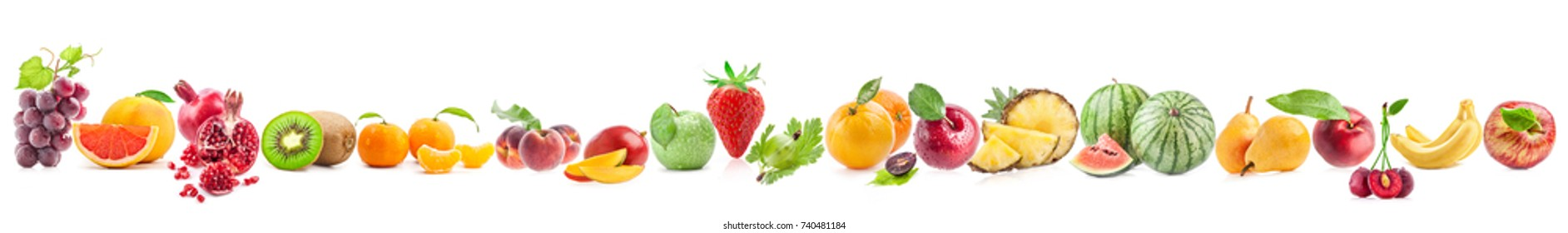 Fruit collections isolated on white background