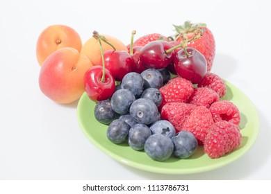 Fruit composition, blueberries, raspberries, cherries, strawberries and apricot composition