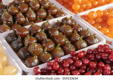 fruit cooked in sugar syrup in stores