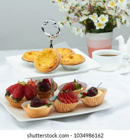 Fruit cupcakes and egg tart, sweet bakery