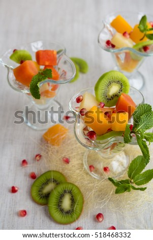 fruit desserts salad pineapple papaya pomegranate stock photo edit