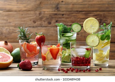fruit detox water cocktail background