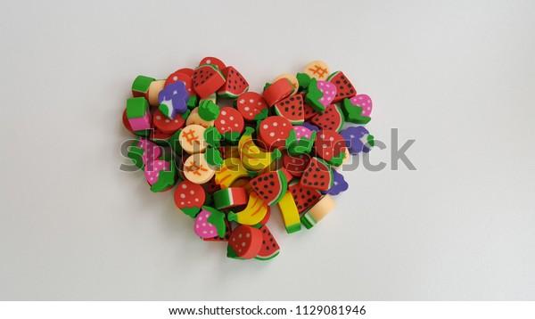Fruit Eraser Toys on white background