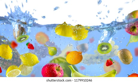 Fruit Fresh shot as they submerged unde water background food delicious splash in aquarium