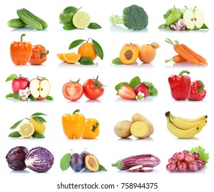 Fruit fruits and vegetables collection isolated apple orange lemon grapes colors tomatoes on a white background