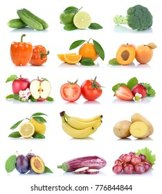 Fruit fruits and vegetables collection isolated apple orange grapes colors tomatoes on a white background