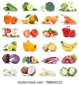 Fruit fruits and vegetables collection isolated apple orange lemon garlic grapes colors tomatoes on a white background