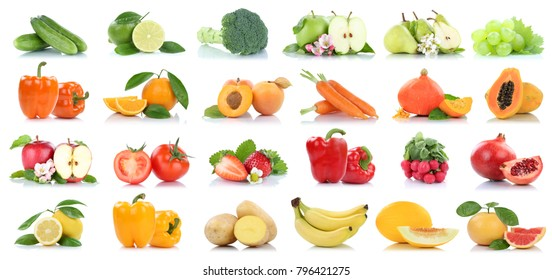 Fruit fruits and vegetables collection isolated apple orange grapes carrots colors tomatoes on a white background